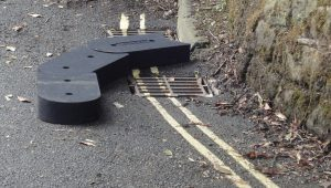 Flood defence blocks direct flood water into drains